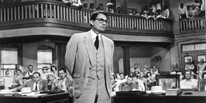 American actor Gregory Peck, as Atticus Finch, stands in a courtroom in a scene from director Robert Mulligan's film, 'To Kill A Mockingbird,' 1962. Actor Gregory Peck died June 12, 2003 at age 87 of natural causes in his Los Angeles, California home. (Photo by Universal Studios/Courtesy of Getty Images)
